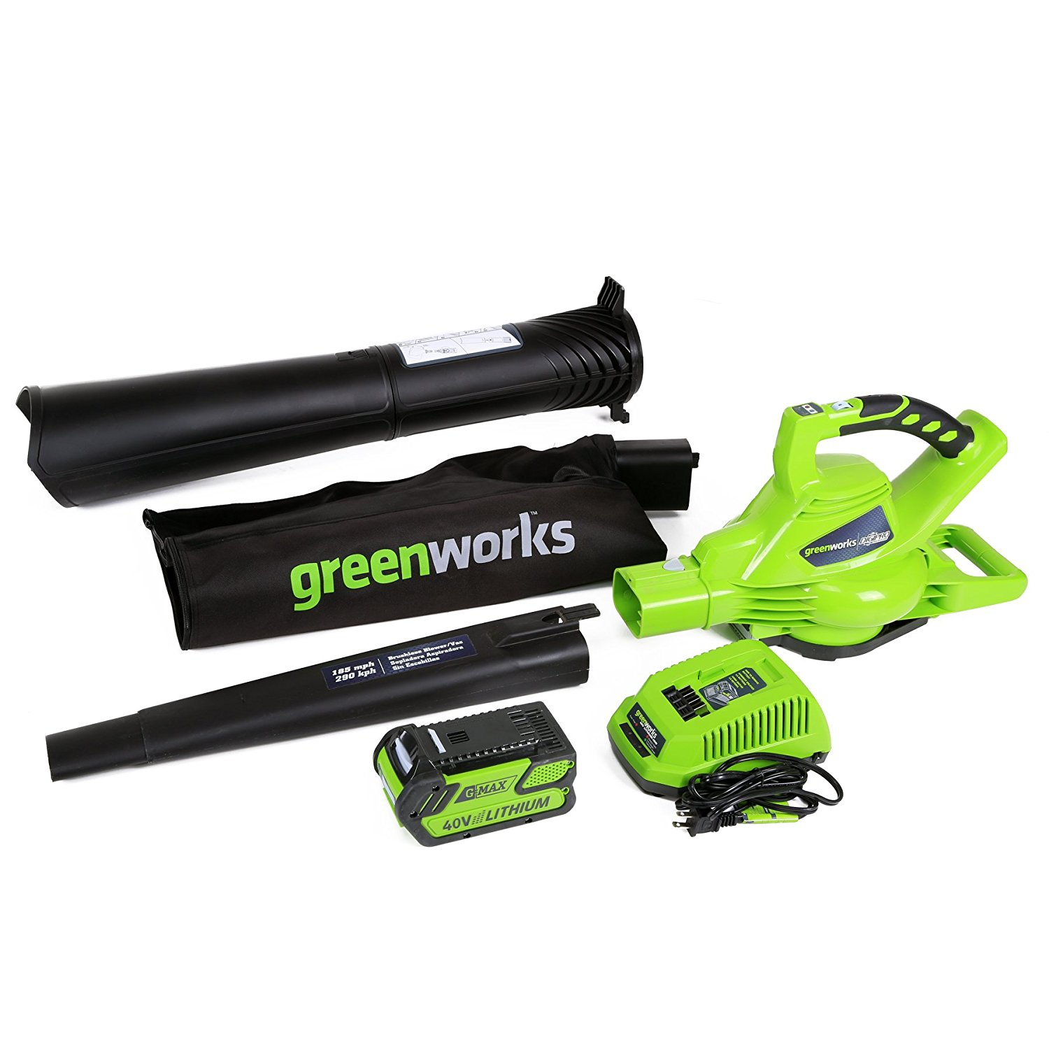 GreenWorks 24322 G-MAX 40V 185MPH Variable Speed Cordless Blower/Vac